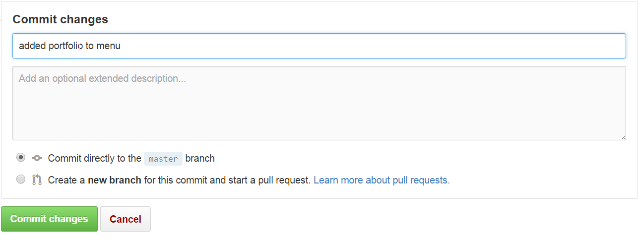 Github Default.html Commit changes