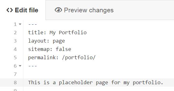 Github Editor for Portfolio.md
