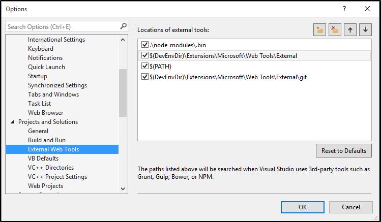 Visual Studio External Web Tools Options