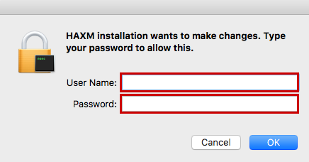 HAXM installation user credential prompt