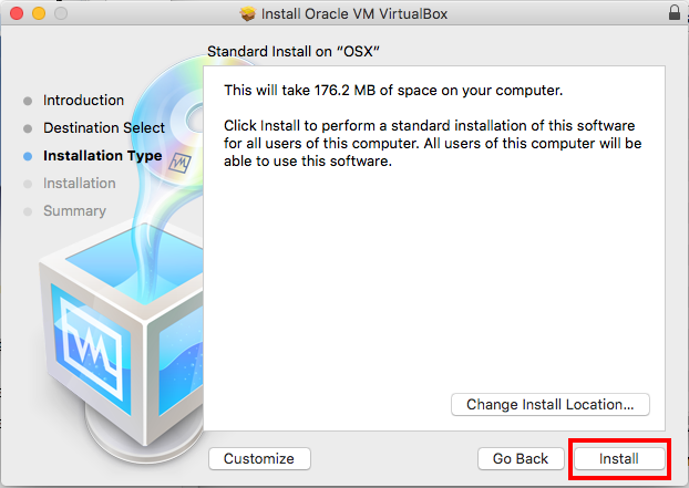 Virtualbox Install Space Needed