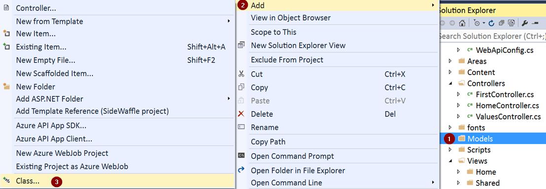 Add New Class to Model Folder in Visual Studio